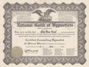 National Guild of Hypnotists Zertifikat G.U. Kreß